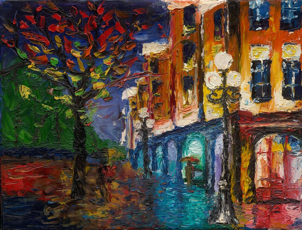 Nighttime Colorful Street - Reprint Available For Purchase