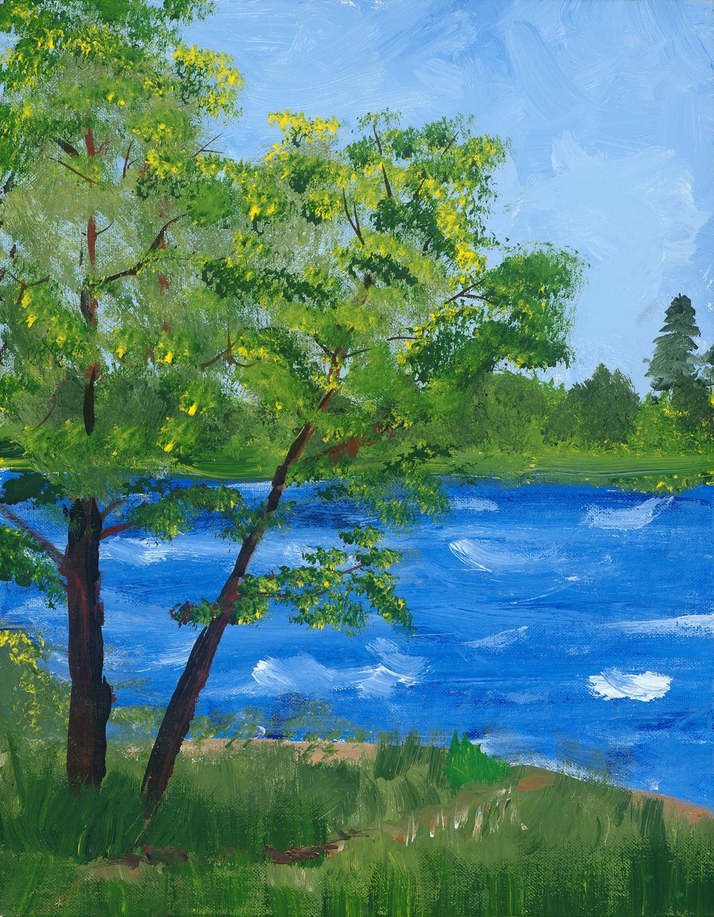 Acrylic Trees by the Water - Reprint Available For Purchase