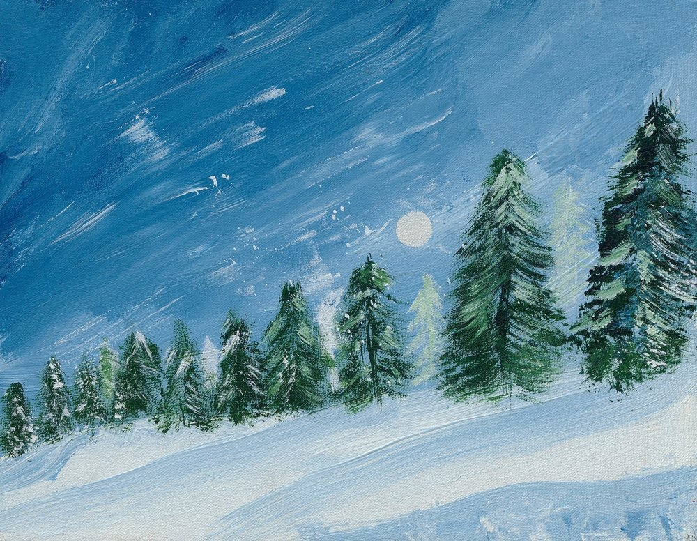 Acrylic Winter Trees - Reprint Available For Purchase