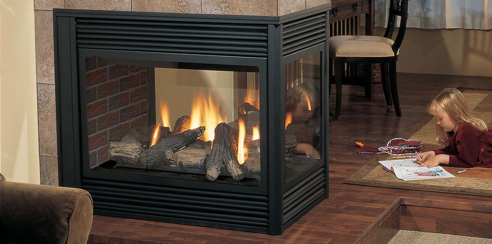 Regency Panorama 131    View Full Specs   Breathtaking View! The pier design allows you to enjoy warmth & beauty from all three sides of the P131. Use this fireplace as a subtle room divider or bring two rooms together with the shared view.