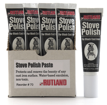 Stove Polish Protects and renews the beauty of cast iron or steel. Non-toxic, non-flammable.Not for use on painted surfaces.