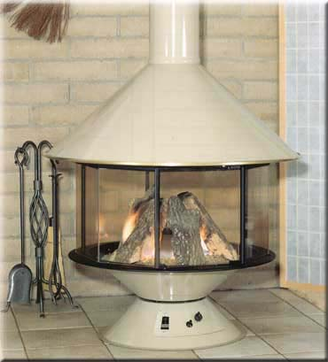 "Malm Imperial Gas Carousel    View Full Specs   Available in matte black, 10 decorator colors fired in porcelain, and satin brass. The versatility of the Gas Carousel is unlimited, center of the room, in the corner, or near a straight wall with only 6"" clearance from combustible materials."