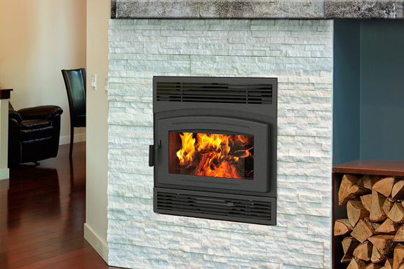 Pacific Energy FP30    View Full Specs   The FP30 Arch meets the need for high-capacity wood heat, with the space savings and convenience of a wall-mounted fireplace.
