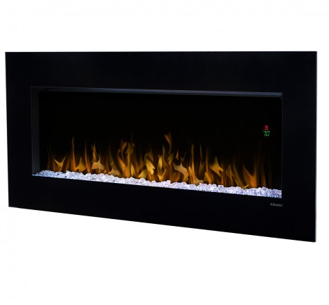Dimplex Nicole    View Full Specs   The Nicole Wall-mount Fireplace provides a modern touch to any decor. Either hung on a wall, or standing on a table, flames that dance amongst the diamond-like acrylic ice ember bed, sparkling in up to 7 different colorful themes.