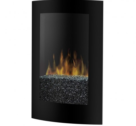Dimplex Convex    View Full Specs   The tempered glass front and a seamless black finish design of the Convex wall mount fireplace, combine to create a contemporary look that adds style to any décor. Choose surface-mount, plug-in installation for the ultimate simplicity or recessed installation & hardwired capabilities for a sleek low-profile look.