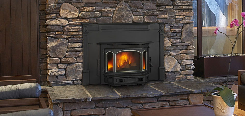 Quadra-Fire Med Insert    View Specs & Additional Sizes   The 4100i fireplace insert features the tradition and charm of cast iron design. The distinctive full bay door with three glass panes offers remarkable views of the patented four point combustion technology burn.