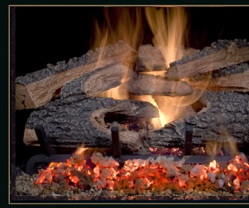"Golden Blount ""Hickory""    View Full Specs   8-log set 5/8"" thick grate Large amounts of embers Black rock standard Split top logs with Bonfire style bottom logs Special two-piece rotten front log for maximum ember effect."