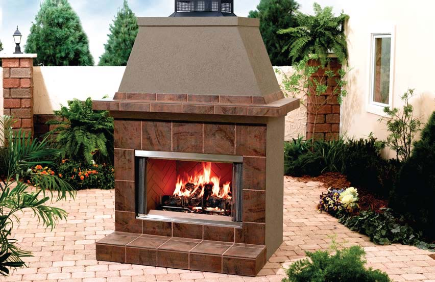 "Heat & Glo Montana    View Full Specs   The Montana fireplaces are unique in that they combine the elegance and durability of stainless steel with the beauty of a full refractory lining and a generous 36"" or 42"" firebox opening. Add the Montana to a Fireplace Surround Outdoor Elements and make your fireplace the focal point of your backyard."