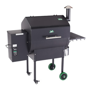 Green Mountain Pellet Grill    View All Models   The Daniel Boone Model comes with a digital control, a meat probe, a peaked lid for stand-up chicken/large fowl/rib racks, a convenience tray with utensil hooks, hard rubber tires and a venturi-style firebox for cyclone combustion. It also has Sense-Mate, a thermal sensor which constantly monitors the ambient temperature.