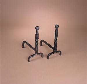 Ball Andirons Matte black cast iron.