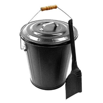 Ash Bucket & Shovel Set Black, pewter or antique copper finish.
