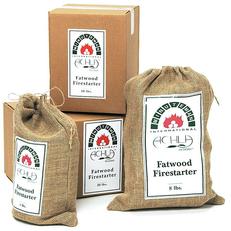 Fatwood 100% all-natural, loaded with resins. Ignites instantly: two sticks start a roaring fire. No more newspapers or chemicals!