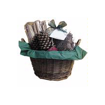 Hearth Basket The adorable basket with wooden handles contains a 1-lb. fat wood bundle, 2 wax-bottom starter cones, and a small bag of aromatic baby-cone potpourri.