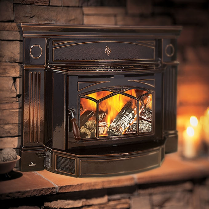 Hampton H1300 Wood Insert     View Full Specs   This large Hampton cast wood insert slides easily into your existing fireplace turning your drafty fireplace into a high efficiency heater; instantly. Not only does it provide up to 75,000 BTU of high efficiency heat, it increases the value of your home with the timeless beauty of luxurious cast iron.