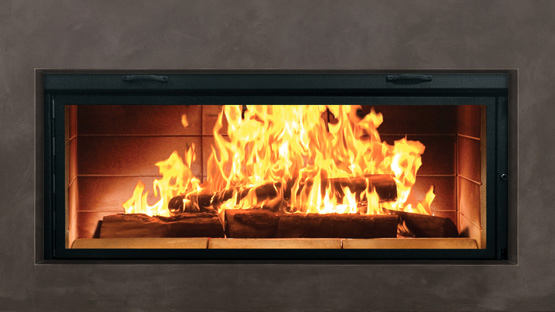 "RSF   Linear Split-Pane     Our Linear fireplaces offer you innovation and beauty rolled into one. The Linear Split Pane (SP) is a sleek linear-style wood-burning fireplace providing an uninterrupted 50"" wide, wall-to-wall fire-viewing area."