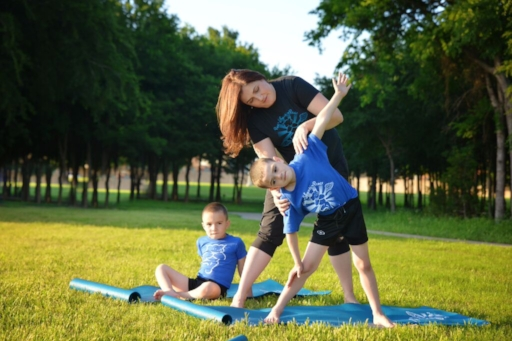 Owner/Instructor ~ Karina Marino & her favorite little yogis