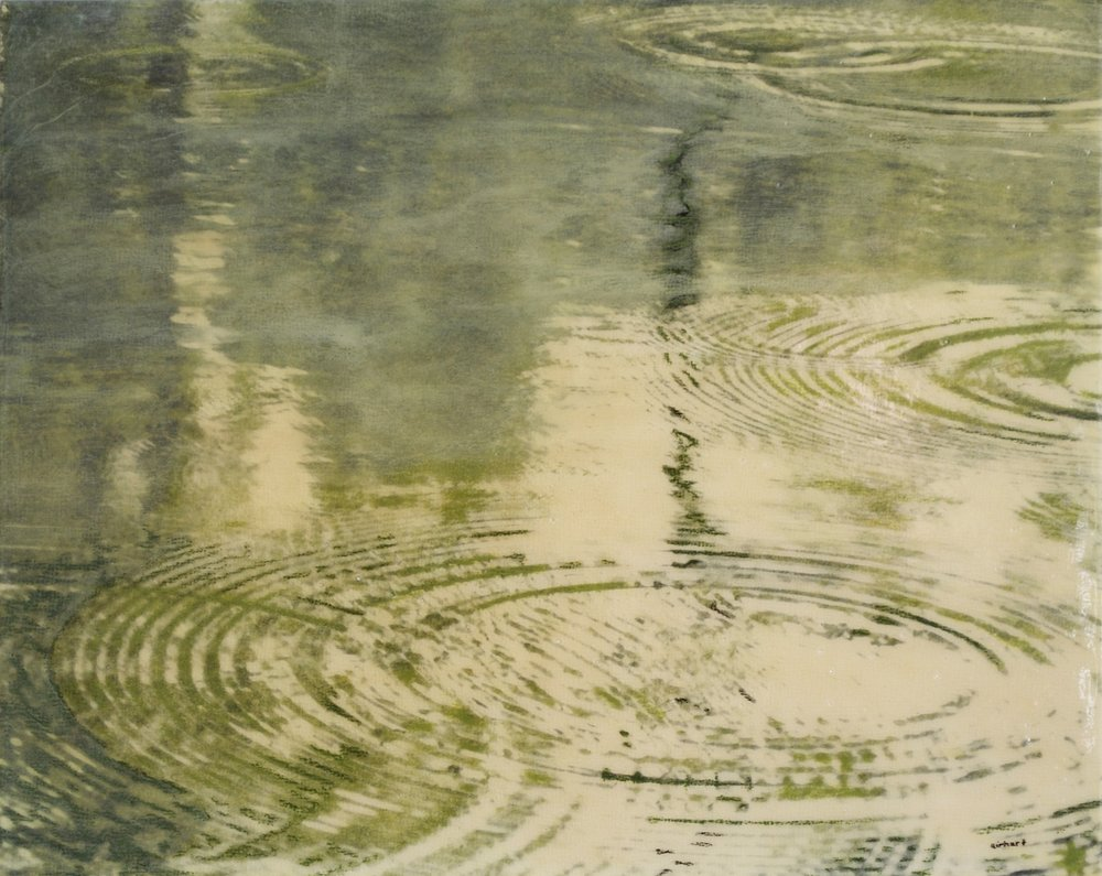 Rain on Green Pond, pigment transfer on panel with acrylic & oil, 8 x 10 in - web.jpg