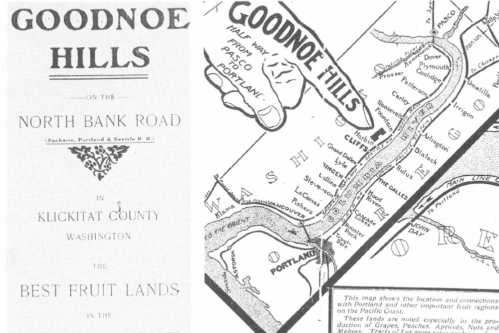 Real Estate Ad from 1914, promoting Goodnoe Hills as the tremendous fruit growing region