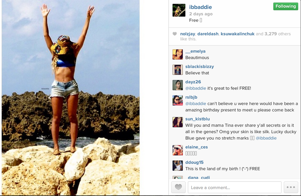 Beyonce in Jamaica wearing the JAIPUR in BRASS from her personal instagram account