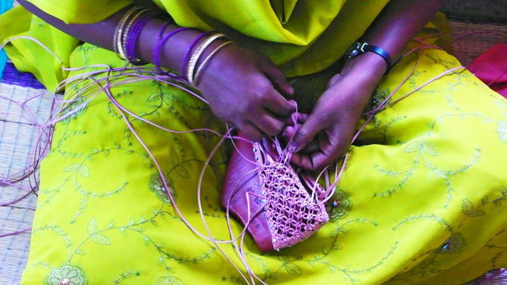 weaver in Chennai, making a shoe.