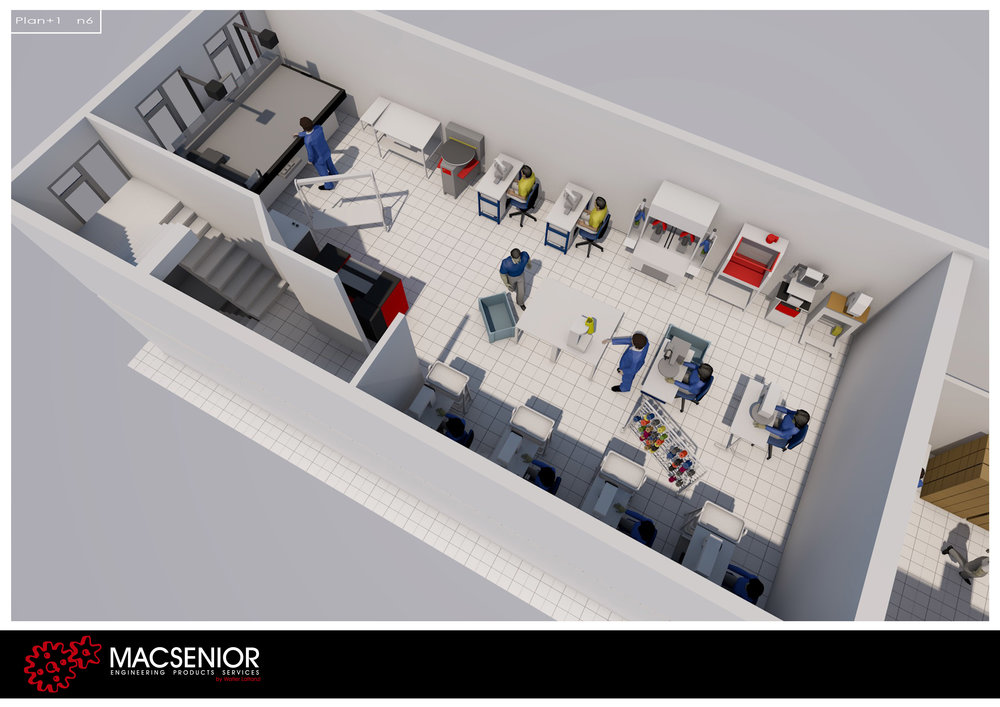 rendering of top view of the cutting and stitching room for a shoe factory in a narrow space