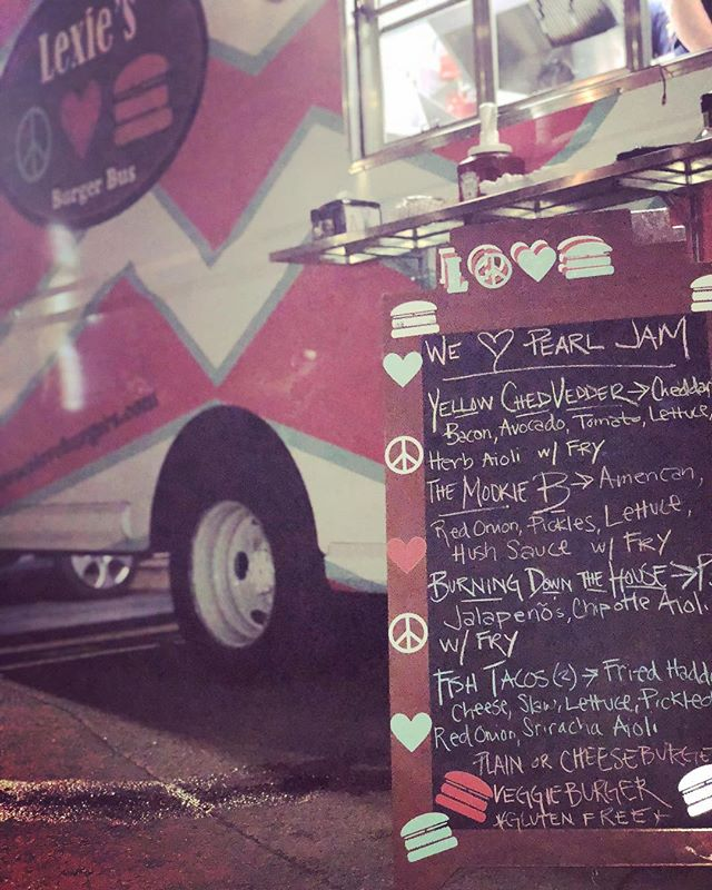 "Last nights ""set list""✌🏽 So much fun being at Fenway with the Burger Bus last night!! We got to catch some of the show and even though we didn't meet the band 😢 we certainly made sure their crew had happy full bellies after all their hard work this past weekend🍔🍔🍔 Thank you to @livenationproductions @livenation @livenationne @pearljam @fenwaypark for having us😘"