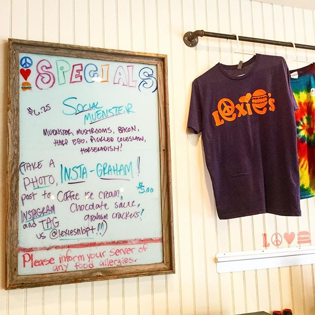 CHALLENGE ALERT!🚨 Come get our delicious social specials today, take a photo with both/either of them, post them to Facebook or Instagram and tag us @lexiesnbpt !! We want to see our specials in action+maybe you'll get an extra amount of our famous house-made cookies😉 Also don't forget to check out our new shirts in stock! #peacelovenewburyport #lexiesnbpt 🍔🍔🍦🍦😍😍