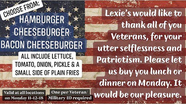 Happy Veteran's Day ❤️ . . . #lexies #lexiesjoint #lexiesportsmouth #lexiesburgers #peaceloveburgers #wearesothankful