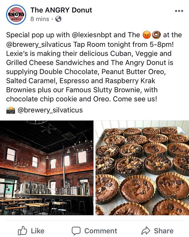 Come join us for a little different bite and a sweet treat tonight! We may not have the Burger Bus or even Burgers, but K.C. makes a mean Cuban (vegetarian included) and we invited our good friend @the_angry_donut to bring some of her killer Krak brownies😳 Hope to see you tonight at @brewery_silvaticus🤞🏽#Amesbury #noburgersnoproblem #paulscuban #chezhenri