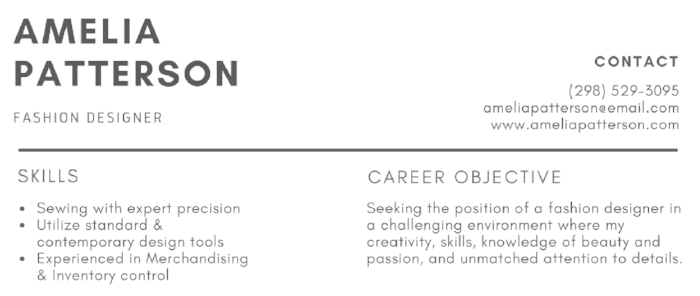 SKILLS & OBJECTIVE SECTION OF A RESUME