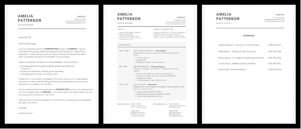 Cover letter, Resume, Reference Page