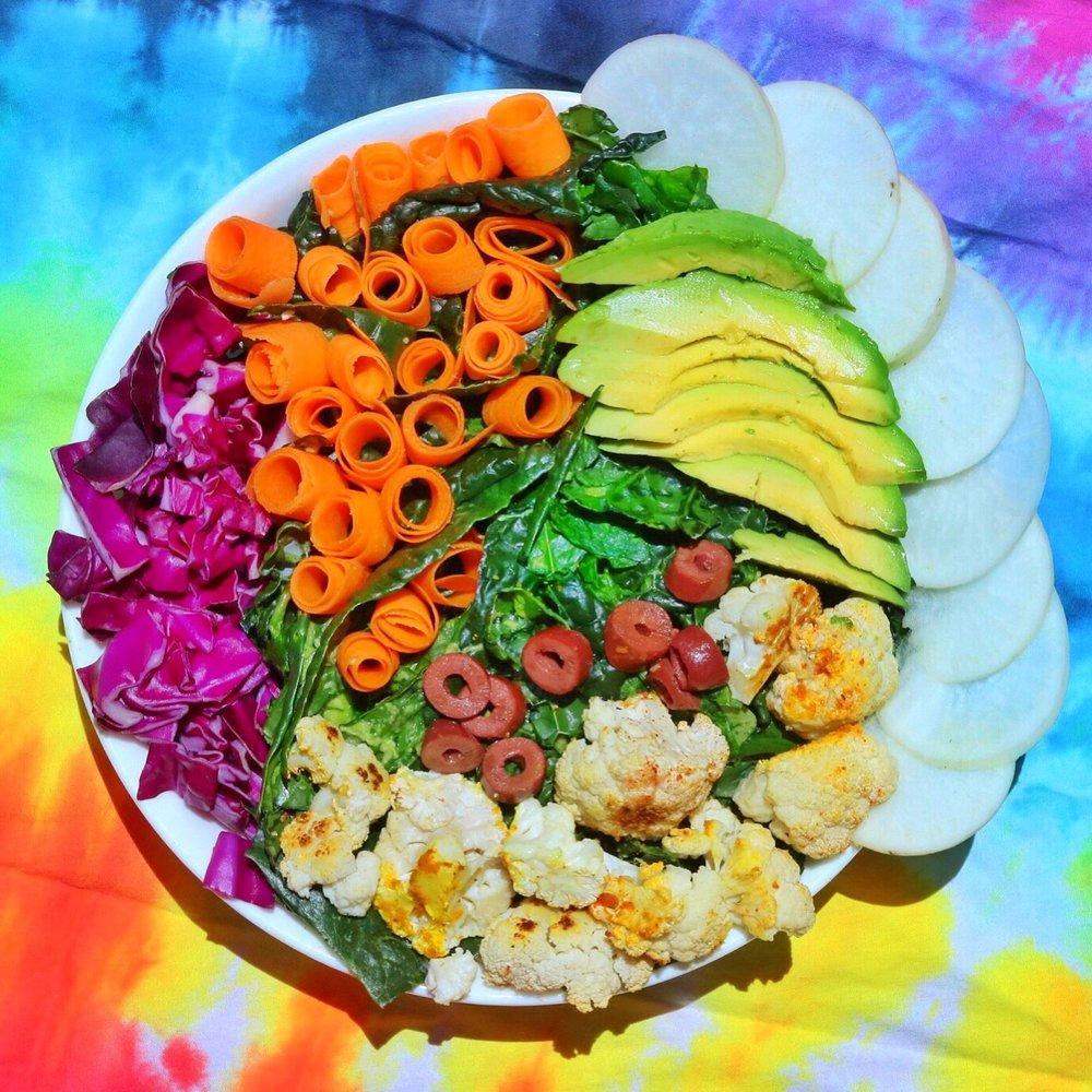 Massaged Kale, Arugula, and Roasted Cauliflower Salad