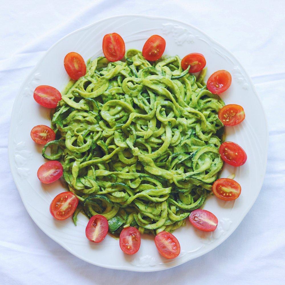 Raw Cashew Pesto Zucchini Noodles