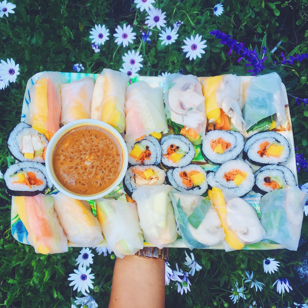 Roasted Sweet Potato and Mango Rolls