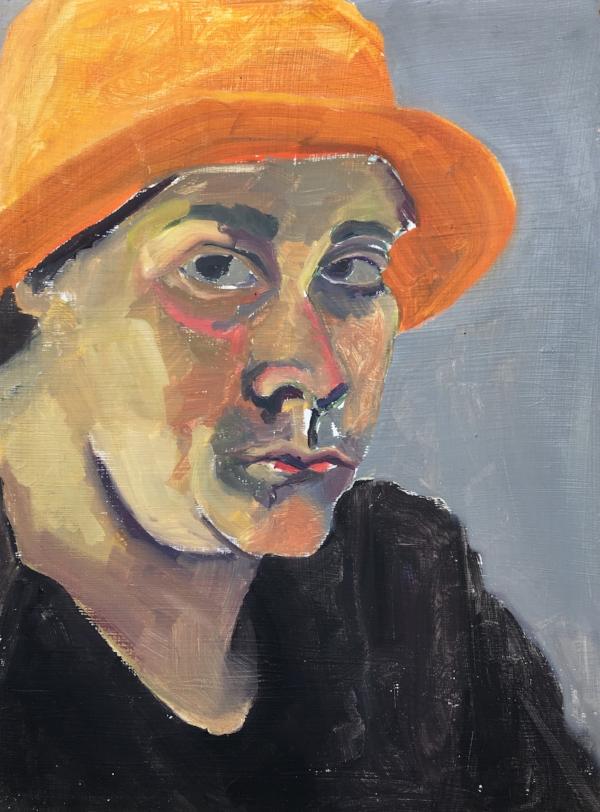 orange hat  acrylic on board  8in x 11in