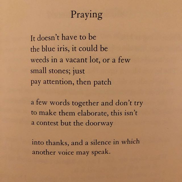 Mary Oliver helped me learn to pray. ❤️ What did she help you with? This poem is from Thirst.