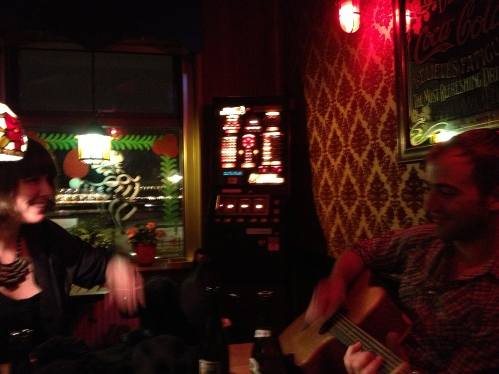 post music show Danish dive bar singing