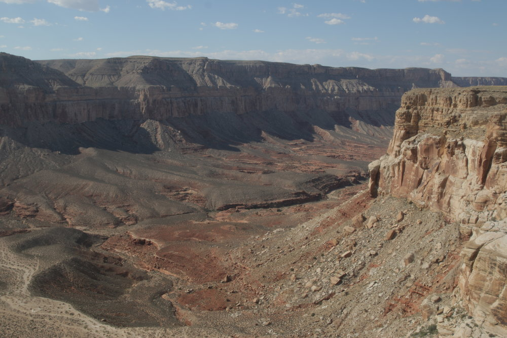 The view of the Grand Canyon from Hualapai Hilltop. The trail snakes along the bottom of the canyon. (Photo by Bri Cossavella/Cronkite News)