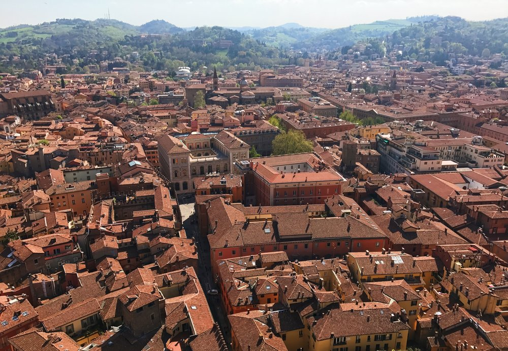 An overlook of Bologna from its tallest tower.