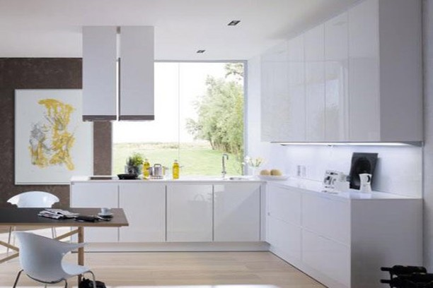Do you love glossy white kitchens? Would you prefer low cost wood cabinets over the fiberboard cabinets of an IKEA kitchen? #ikeakitchen #betterthanikea #buyAmerican