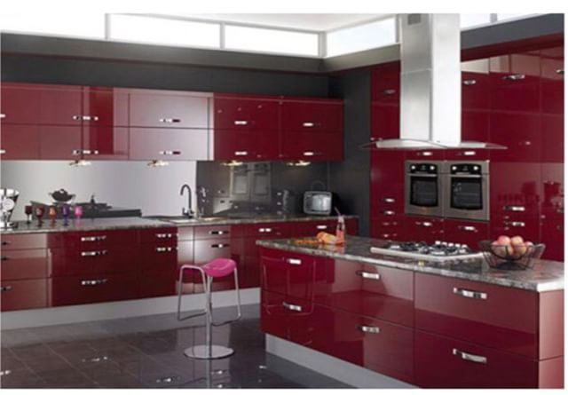 This ruby red gloss is special. Same price as white. For the designer in us all. #red #cabinets #kitchen #betterthanikea