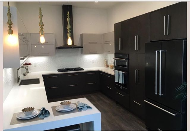 Transitional. Nice remodel we think. Our cabinets cost under $10k. #cabinets #kitchen #modernkitchen #betterthanikea