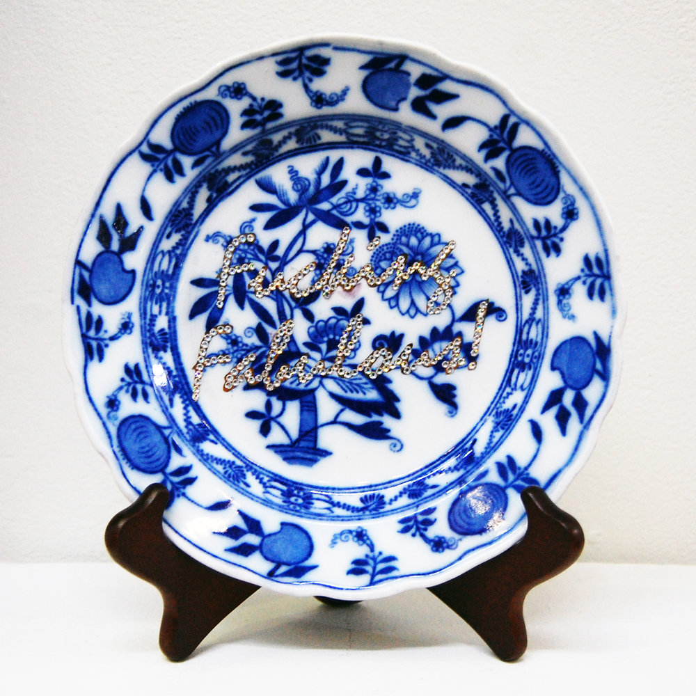 """Reclaimation!"" by Kevin R. Kao 19th century counterfeit ""Meissen"" plate, gold luster, crystals 8.25"" X 8.25"" X 1.5"" 2012"