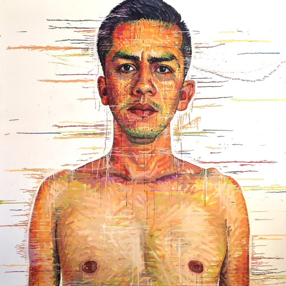 """Armando, San Felipe, BAJA CA"" *somewhereX a gay Mormon portrait project because we exist! 72"" x 72"" oil on canvas"