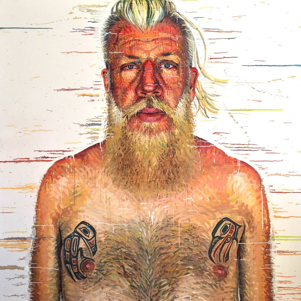 """Matthew, Pawtucket, RI"" *somewhereX a gay Mormon portrait project because we exist! 72"" x 72"" oil on canvas"