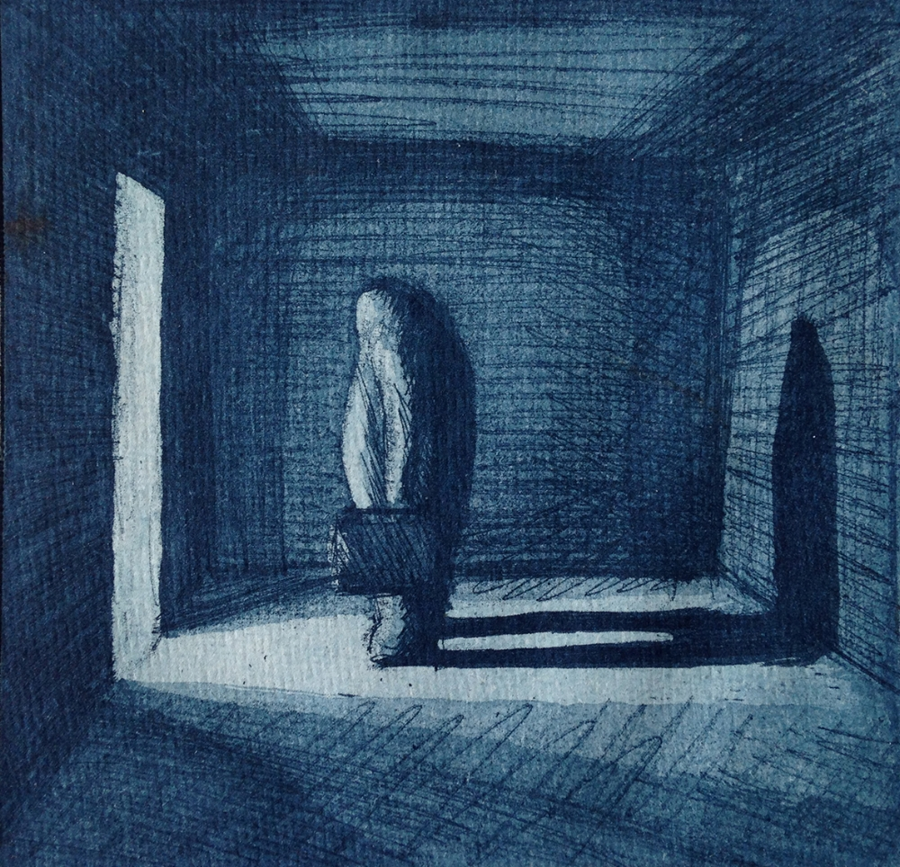 The Doorway (blue) Nadeem Chughtai aquatint etching on handmade recycled cotton rag 120mm x 123mm