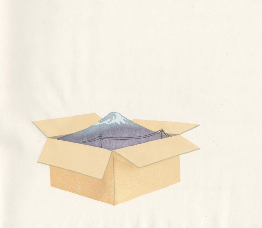 "Packing Fuji Yoonmi Nam Mokuhanga (water-based woodblock print) 12""x13.75"" 2012"
