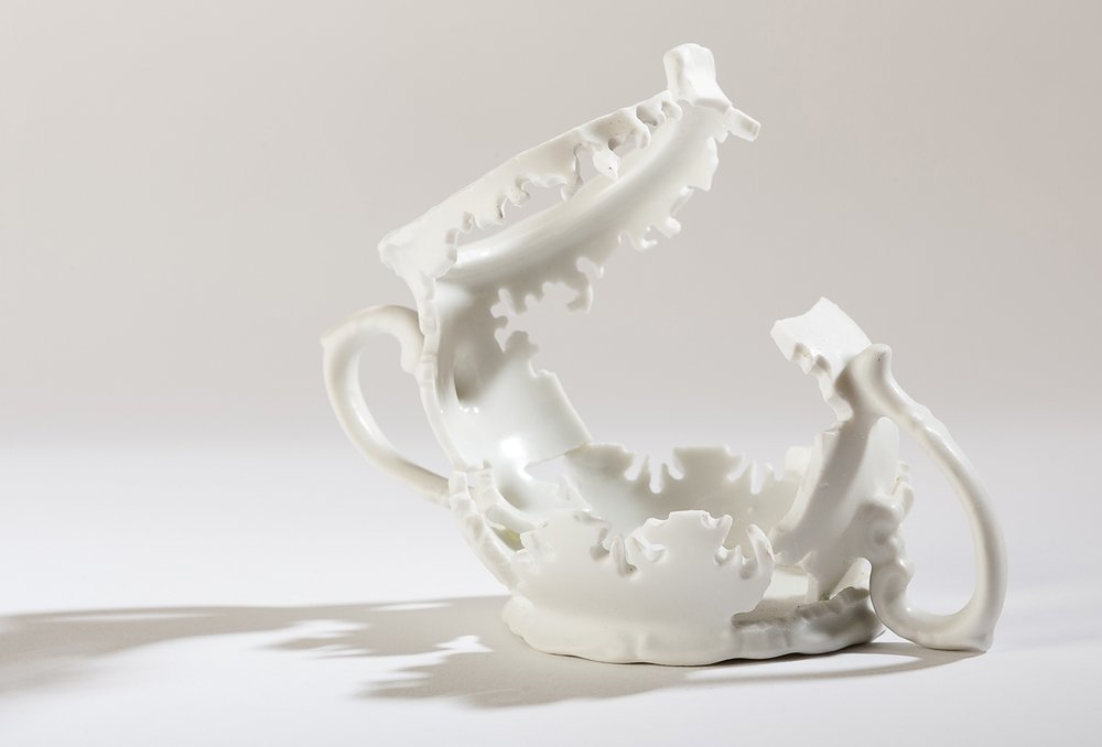 "Sugar Elizabeth Alexander hand cut found porcelain 4"" x 5"" x 3"" 2013 photo by Darren Stahlman"