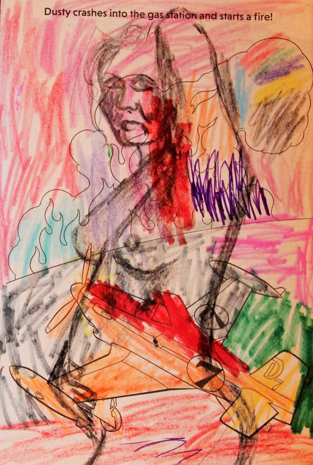 Art Time Mama (Dusty Crashes) Sally Deskins crayon, charcoal on children's coloring book page, 2018, with H. Deskins