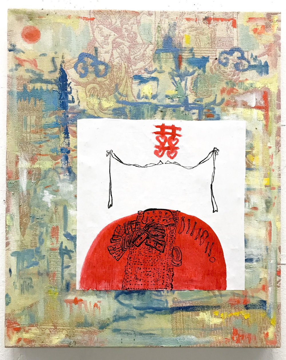 """Kelly Moore Chinese Dowry in Dallas 14"""" x 12"""" ink, paper, and oil on canvas, 2018"""